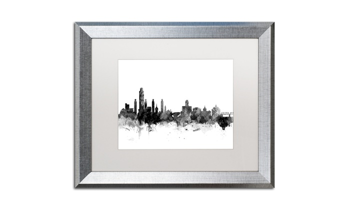 Michael Tompsett \'Albany New York Skyline B&W\' Silver Framed Art ...