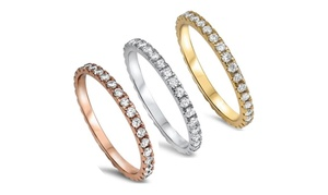 Women Stackable Eternity Style .925 Sterling Silver Wedding Band Ring