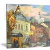 Old City Cityscape Metal Wall Art 28x12