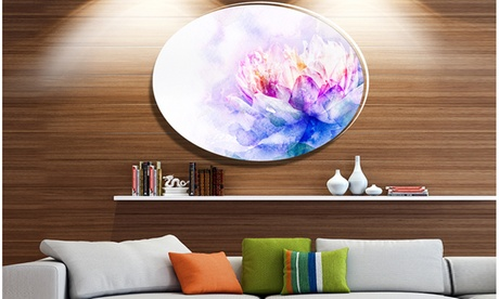 Blue Flower Watercolor' Ultra Vibrant Floral Metal Circle Wall Art 6b25f0fb-b44b-4ae8-95b8-6b5c5996679d