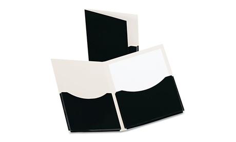 Esselte Pendaflex Corp. 2 Pocket Laminated Paper Folder, 200 Sheet Cap, Black 59ab3f6b-f5c7-4057-8f7d-52cb33a1d688