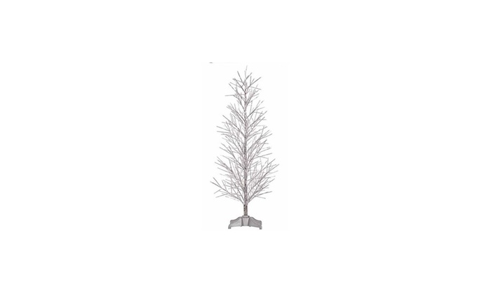 2' Pre-Lit Silver Fiber Optic Xmas Twig Tree - Multi