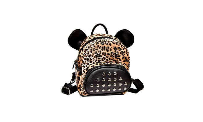 Back To School Cheetah Print Stud Pocket Backpack Groupon