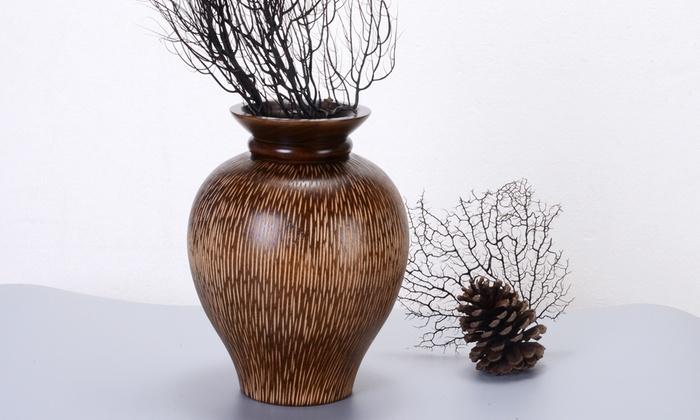 Villacera Handmade Round Mango Wood Decorative Urn Vase
