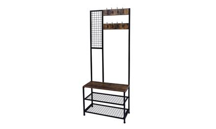 3 in 1 Industrial Coat Rack Hall Tree Entryway Storage Shelf Organizer