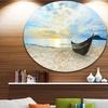 Calm Beach Panorama' Photography Circle Metal Wall Art