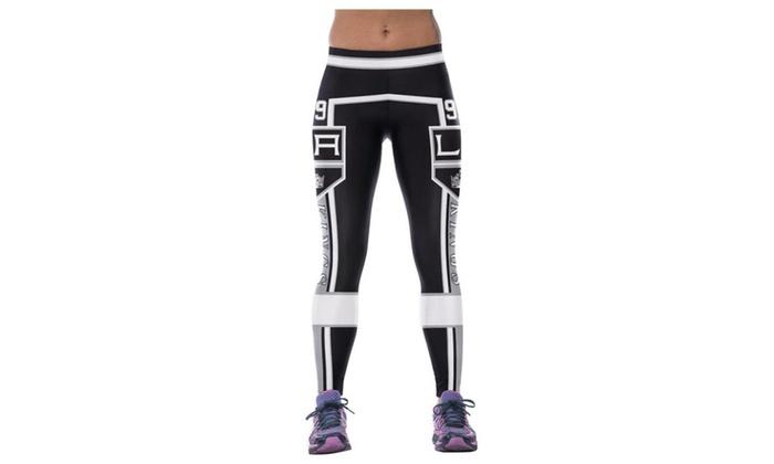 4PING Women's Stitching Pattern Printing Fitness Pants Leggings Black