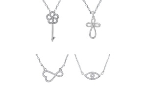 Tiny Treasures Sterling Silver 1/10ct Diamond Evil Eye Necklace by DeCarat