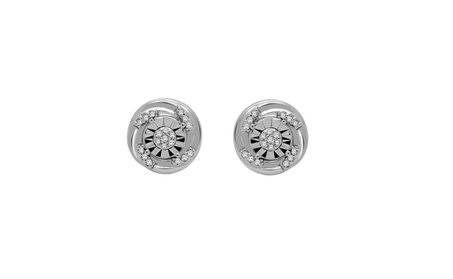 0.09 Ct Round Natural Diamond Solid 10K White Gold Swirl Stud Earring