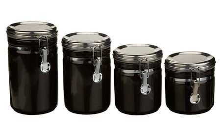 Anchor Hocking 03923Mr 4 Piece Ceramic Canister Set, Black 8da6414a-421b-4b80-b295-9c2fe11205a5
