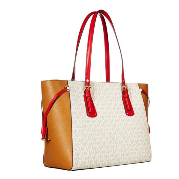 9e39f8ff00 Michael Kors Signature Voyager Medium Tote Bag Vanilla  Acorn  Red ...