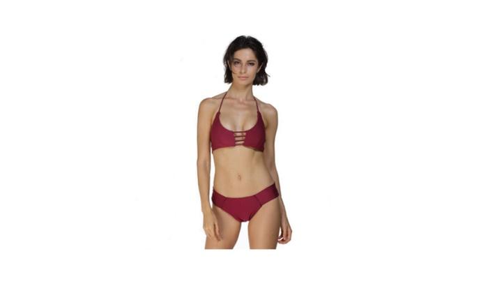Wine red Strapless Halter tie pierced with split Bikinis