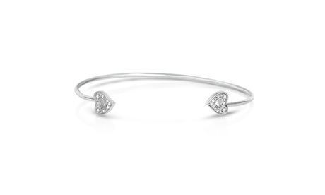 1/10Cttw Diamond Heart Open Bangle in Sterling Silver b2f26f34-0581-4fb1-9698-fd2cfd854759