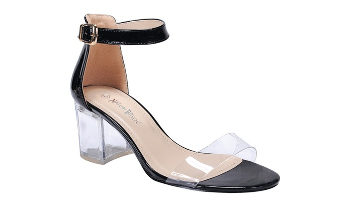 Beston FI38 Women's Lucite Chunky Heel Ankle Strap Dress Sandals