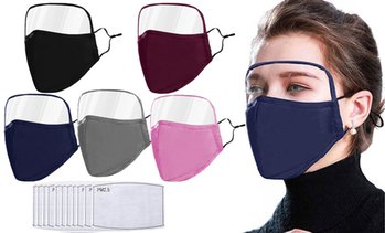 2-Pack Washable Cotton Face Masks W/ Eye Shield, Filters & Adjustable Straps