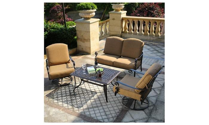 Domi Patio Outdoor Cast Aluminum Furniture Conversation Set Groupon