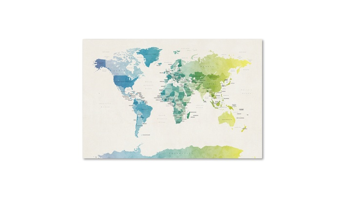 Up to 60 off on michael tompsett watercolour groupon goods groupon goods michael tompsett watercolour political map of the world 2 canvas art gumiabroncs Choice Image