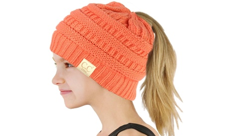 CC Solid color messy bun beanie for kids CC MB-847-KIDS