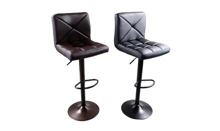 2pcs PU Leather Modern Adjustable Swivel Hydraulic Chair Bar Stools
