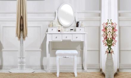 5 Drawers Bedroom Dressing Vanity Table Makeup Desk White/Black