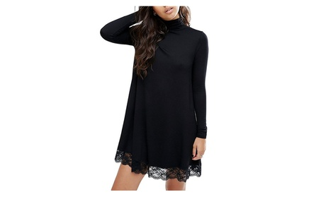 Women Knitting Turtleneck Long Sleeve Loose Lace Cotton Casual Dress bc34476b-700c-4faf-a699-c7c5837c1f9e