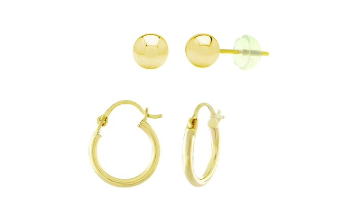Kids 14k Gold Ball Studs And Hoop Earrings 2 Pairs