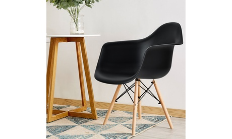 Costway Set of 2 Mid Century Modern Molded Dining Arm Side Chair Wood Legs