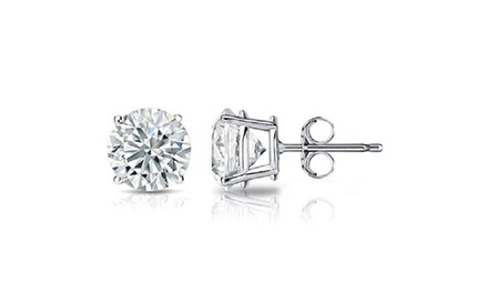 14k White Gold Genuine White Sapphire 4.0 ct Round Shape Stud Earrings Was: $124.36 Now: $17.99.