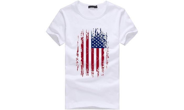 3271eb1e90daf1 Gyoume American Flag Tops,Mens Plus Size Flag Print T Shirt Blouse Mens