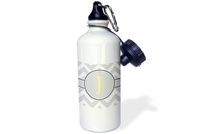 Water Bottle Grey and white chevron with yellow monogram initial J photo