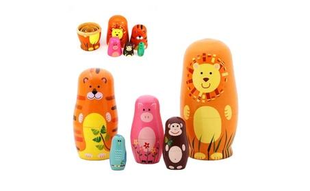 "Maxshop 5 Pieces 6"" Tall Cute Nesting Dolls Russian Handmade Wooden af802b05-8eee-4546-873c-2063e74808ed"