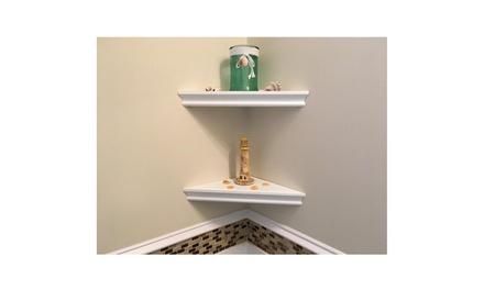 Set of 2 Floating Corner Wall Shelf Home Decor Furniture Shelves Storage