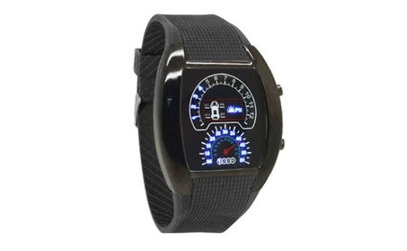 Pro Mens Womens Black Rubber Racing Blue Light Watches