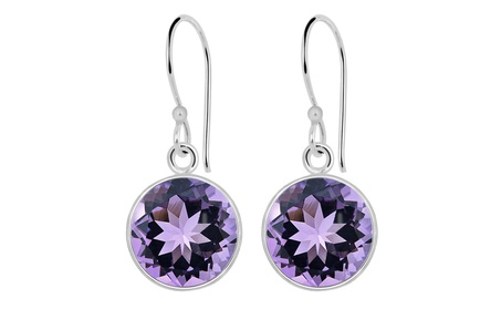 Orchid Jewelry Solid Sterling Silver Amethyst Round Drop Earrings ee4e3f1d-4184-41b3-971e-c819238c807d