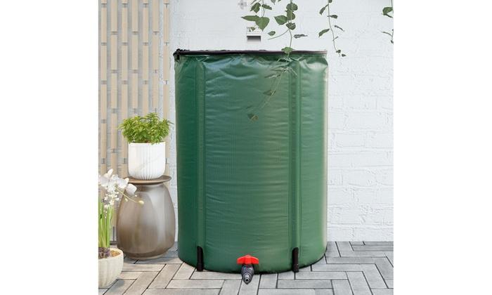 60 Gallon Portable Rain Barrel Water Collector Collapsible Tank Spigot Filter