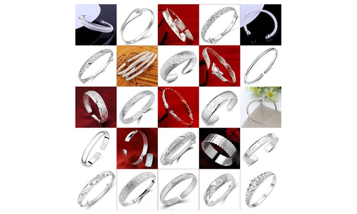 Luxury fashion 925 Sterling Silver cuff bangle chain Bracelet Jewelry