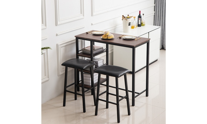 Wondrous Up To 35 Off On Pvc Wood Table Counter Height Groupon Pabps2019 Chair Design Images Pabps2019Com