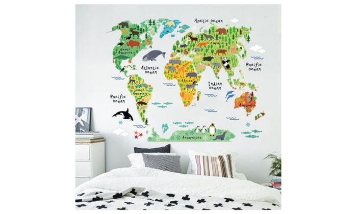 World map kids room decor wall sticker groupon for 420 room decor