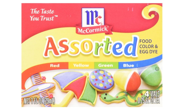 Mccormick Assorted Food Color & Egg Dye Box 4 colors (Pack of 12 ...