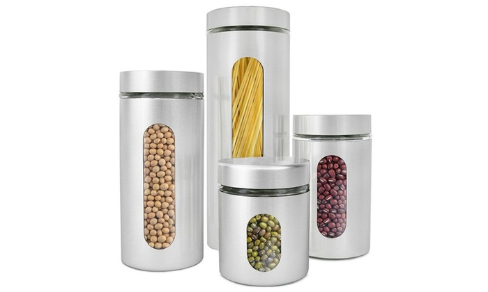 Estilo Brushed Stainless Steel And Glass Canisters With Window 4 Pc