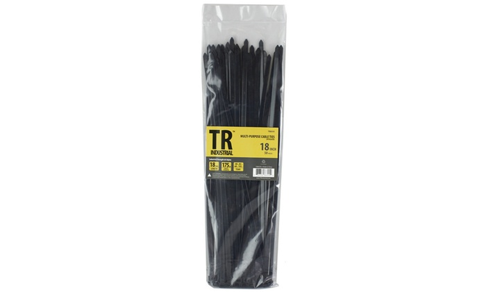 "TR Industrial 88305 Multi-Purpose Cable Ties (50 Piece), 18"", Black"