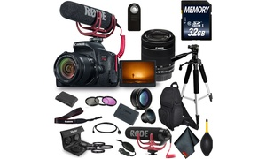 Canon EOS Rebel T7i DSLR Camera with 18-55mm Lens , Microphone, Filters Bundle