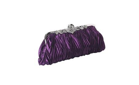 QZUnique Women's Satin Clutch Purse Pleated Crystal Evening Handbag (Goods Women's Fashion Accessories Handbags) photo