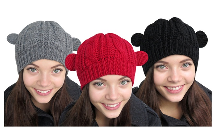 Cable Knitted Form Fitting Winter Hat W/ Cat Ears, Assorted Colors