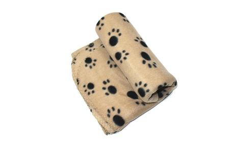 Pet Accessories Puppy Dog Soft Beige Paw Print Blanket 6ee7a7d5-8f39-43fa-b7a2-146702574a08