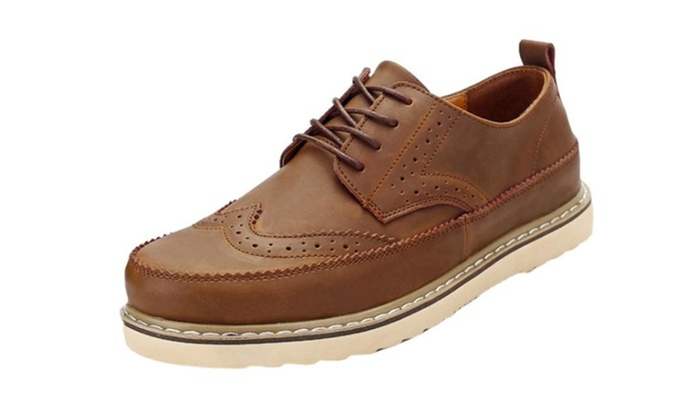 Men's Lace up Casual Cattlehide Loafers