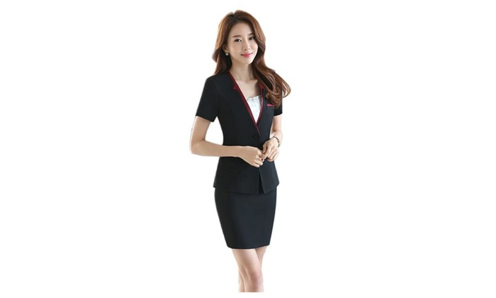 Women's Business Office OL Blazer Jacket and Skirt Suit Set