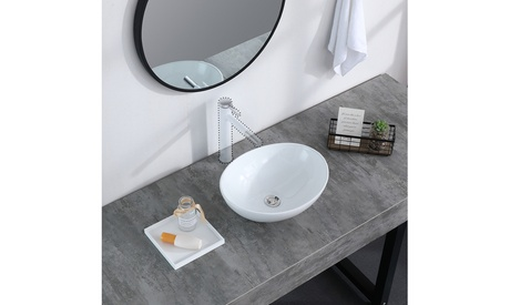 Bathroom Above Counter Egg Shape Oval Bowl Ceramic Vessel Vanity Sink Art Basin