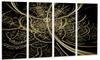 Gold Metallic Fabric Pattern Digital Art Metal Wall Art 48x28 4 Panels