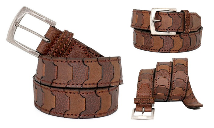 WM2802 - Toneka Men's Casual Steampunk Two Tone Link Leather Belt